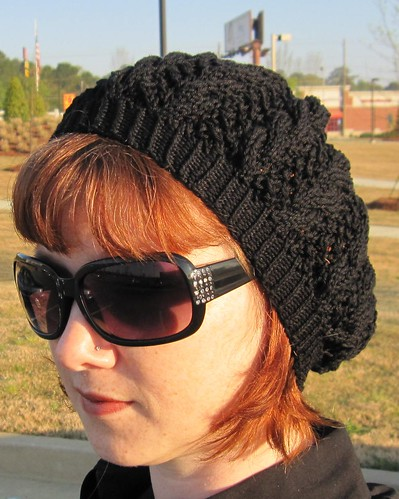chicabean beret hat tam knit knitting lace cables black me