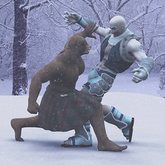 Bear and Giant fight 3 Done (syndaryl) Tags: bear snow man male giant fight kilt render wrestle dazstudio