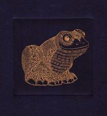 принцесса-лягушка-золото-синий 001 (tim.spb) Tags: original etching postcard small frog ornament plates desigh открытки графика малые aquafortis формы офорт princesа печатные