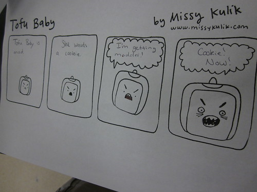 Some of the Tofu Baby comics embellished by the high school class I spoke to.