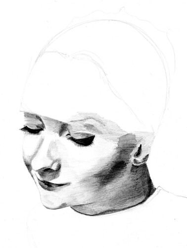 unfinished drawing from Erwin Blumenfeld photograph