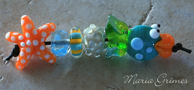 A Day at the Beach-Lampwork Beads