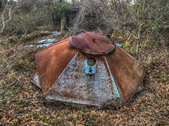 Steel umbrella (pmcdonald851) Tags: abandoned broken canon woods junk rust raw decay rustic rusty powershot weathered junkyard hdr ruraldecay dilapidated crumbling lightroom fallingdown brokendown dng photomatix s120 canons120