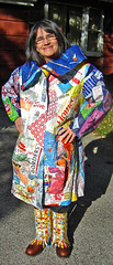"""""""21st Century Fusion"""" fused plastic bags coat ~ photo 20 (Urban Woodswalker) Tags: art fashion collage wonderful advertising typography design graphicdesign weird colorful different graphic unique oneofakind ooak coat awesome creative craft surfacedesign add statement recycle fabulous melted fashionshow craziness bizarre consumerism branding artisan plasticbags overthetop ironed chicagoland reuse fused popularculture repurpose 21stcentury ecoart workofart arttowear upcycle artwear myowndesign iconagraphy urbanwoodswalker swancc environmentalstatement 2009flashytrashionshow visualoverstimulation midwesternartist maenriquez maryanneenriquez savemyoceans"""