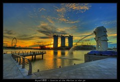 Merlion Sunrise HDR ( Bryan aka Numnumball ~**) Tags: marina sunrise landscape dawn nikon wideangle hdr merlion onefullerton 1735mmf28 d700 borderfx