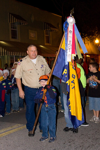 Alex carrying the flag