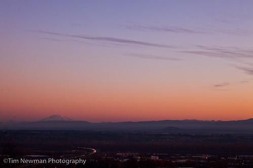 Morning light on the horizon- Mt. St. Helens