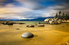 Passage of Time - Sand Harbor, Lake Tahoe, Nevada (Jim Patterson Photography) Tags: pictures statepark longexposure blue trees usa lake storm motion mountains beach nature water pine clouds landscape photography gold sand rocks natural photos cove nevada tripod wideangle stormy laketahoe boulders shore lee ripples polarizer gitzo reallyrightstuff sandharbor remoterelease nikkor1224mm graduatedneutraldensityfilter singhray goldnblue nikond300 markinsm20ballhead jimpattersonphotography carsoncitycounty jimpattersonphotographycom bw10stopneutraldensityfilter seatosummitworkshops seatosummitworkshopscom