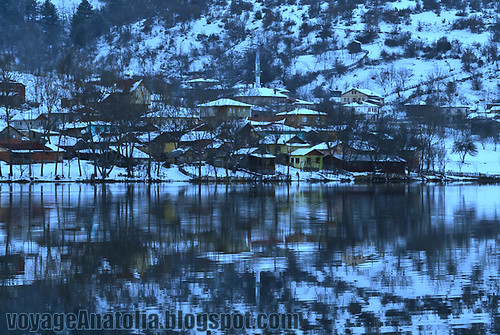 Winter Village by the Snow Lake by voyageAnatolia