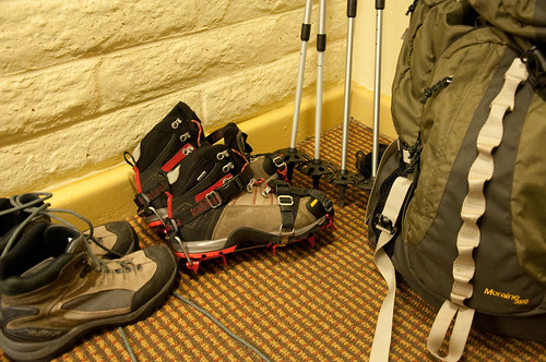 Crampons & hiking poles for Icy/Snowy trail
