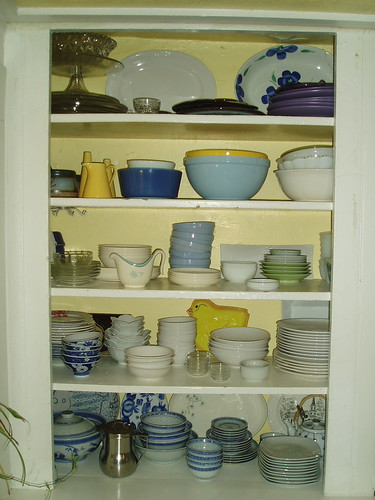 re-organized dish shelf