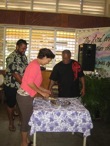 Jeff, Nita, and Willard receiving communion