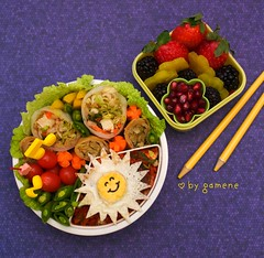 sunshine tofu bento (gamene) Tags: tomatoes strawberries pomegranate bento carrots friedegg blackberries grapetomatoes springroll babycarrots peapods spicytofu takuwan gamene