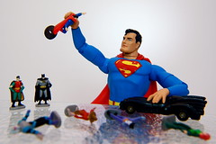 Playing The Hero (JD Hancock) Tags: favorite robin comics fun toy toys actionfigure interesting action superman cc figure superhero batman comicbooks portfolio dccomics multicolored batmobile 1k nogeo inkitchen dirtylittlesecrets macromondays galleried jdhancock