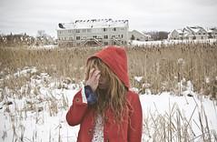 (yyellowbird) Tags: houses winter red selfportrait snow girl field suburban coat hood cari thehollows