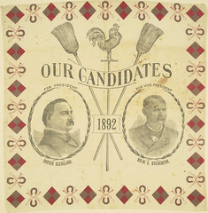 """Cleveland-Stevenson """"Our Candidates 1892"""" Portrait Handkerchief (Cornell University Library) Tags: animals portraits politics symbols roosters horseshoes brooms busts democraticparty lozenges promotionalmaterials ridingcrops cornelluniversitylibrary culidentifier:lunafield=idnumber clevelandgrover stevensonadlaie18351914 culidentifier:value=2214tx0093"""