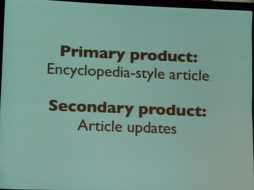 Solution: create encyclopedia articles as the primary news product and Article Updates as secondary news product