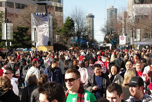 Crowds at Robson Square