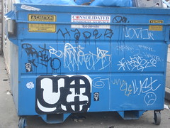 Decorated Dumpster (Asian Eater) Tags: hinge graffiti losangeles uncle stickers tags mq hollywood graff lust hades sadface braino dms serch rth uti mkue rtdk slaptags lovek lovekrew