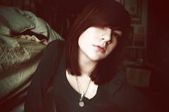54/365 (Alison Hillard) Tags: portrait selfportrait girl self pose necklace pain bed bedroom teal sheets 365 blankets brunette upset necklaces discontent