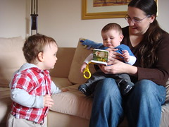 Lucas realises his Mummy and book are with another little boy!