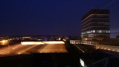 Maidzoom (AndyGorman) Tags: uk longexposure england urban rooftop night buildings kent cityscape offices maidstone lightstream zoomburst lovelycity chequerscentre sonyalpha330