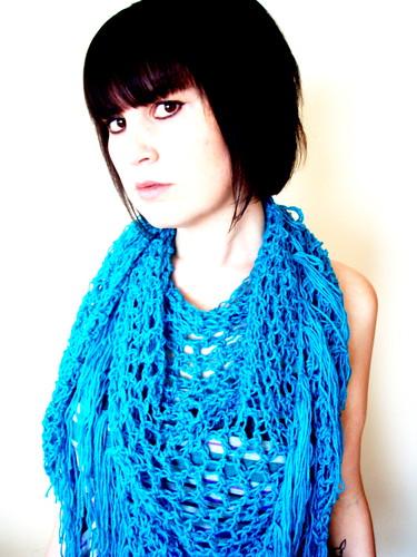 softspoken teal fringe scarf