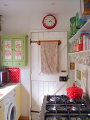 kitchen (prettyshabby) Tags: door clock kitchens small polkadots cathkidston scullery vintagetins prettyshabby