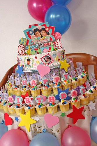 Birthday Cake and Cupcakes Tower for Fatin's Kids, TTDI, KL - 7 February 2010