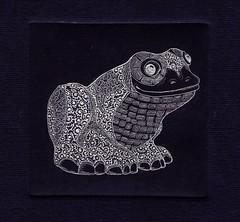 принцесса-лягушка-серебро-синий 001 (tim.spb) Tags: original etching postcard small frog ornament plates desigh открытки графика малые aquafortis формы офорт princesа печатные