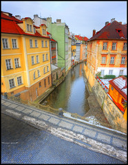 The canal next to Hotel Certovka (Front Area Photography) Tags: old bridge color water hotel canal europe vivid charles front photograph area land photgraphy prage crtovka