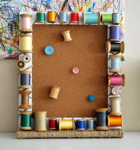 Vintage Wooden Spool Cork Board Frame