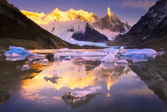 The Jewels of Cerro Torre by Michael Anderson (AndersonImages) Tags: blue patagonia reflection southamerica argentina sunrise gold icebergs losglaciares elchalten cerrotorre lagunatorre