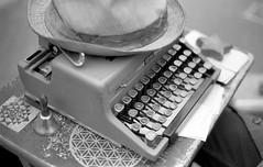 A Poet's Typewriter (jfearer_photo) Tags: 500px typewriter royal paper desk fedora hat street bell seattle market still life delta 400 ilford kodak d76 washington film olympus om10