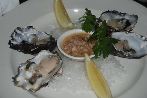 Freshly sucked oysters with soy and lemon shallot vinaigrette