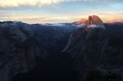 an awful saturday night (nicolemariedev) Tags: pink light sunset love clouds canyon valley yosemite halfdome glacierpoint