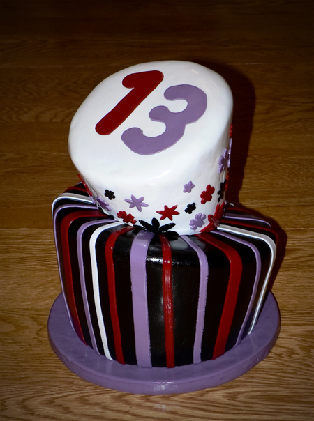 wonky topsy turvy whimsical 13th birthday shiny carved fondant black red purple white chocolate