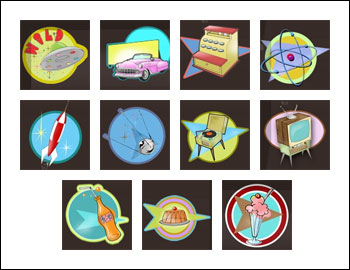 free Atomic Age slot game symbols