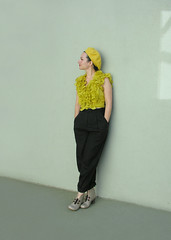 Thinking in Bright Yellow (Elsita (Elsa Mora)) Tags: blue portrait orange inspiration selfportrait color art smile fashion photoshop self hair happy outfit nice shoes artist personal top sandals background inspired remix seed style skirt blouse hidden blogged wardrobe elsa mora selfexpression elsita