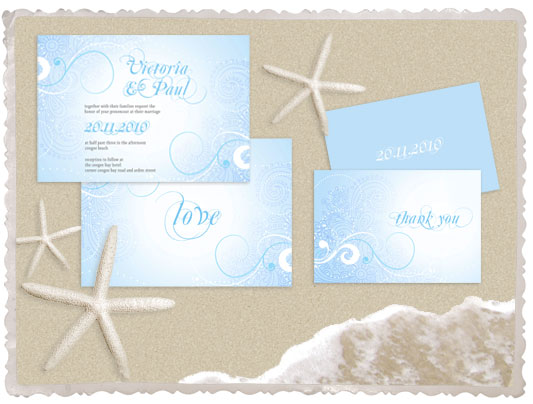 creating a beach wedding invitation proved to be a little challenging