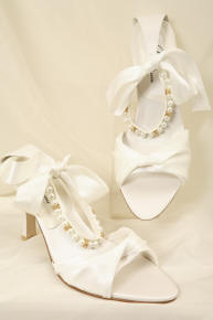The beads in the wedding shoes.