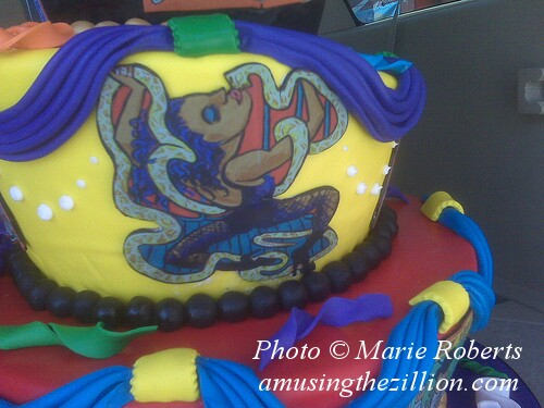 Detail from Cake Boss Cake: Replica of Marie Roberts' Serpentina Banner. Photo © Marie Roberts