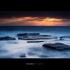 In Blue ([ Kane ]) Tags: ocean longexposure blue sky sun mist seascape cold water clouds dawn coast early rocks qld queensland rays kane sunshinecoast nd400 gledhill 50d pointcartwright kanegledhill wwwhumanhabitscomau kanegledhillphotography