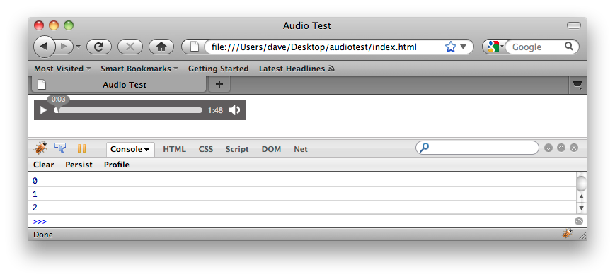 First successful test of raw audio in browser