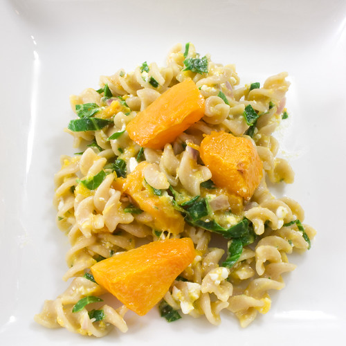Roasted Pumpkin and Collard Green Pasta