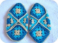 Slippers Sans Feet (seesuestitch) Tags: crochet slippers picnik grannysquare crochetslippers grannysquareslippers