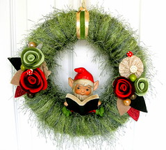 Garden Gnome Yarn Wreath (KnockKnocking) Tags: cute green art mushroom grass vintage garden japanese book spring gnome felt velvet pixie sparkle yarn elf wreath kawaii bead toadstool ribbon fiber homco knockknocking