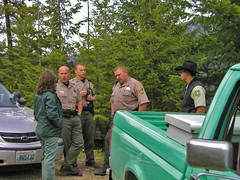 Deputies at Cle Elum Lake (Trystian Sky) Tags: police olympus campingtrip sherriff blockedroad c4040 forestryservice cleelumlake c4040z olympus4040z 4040z olympus4040zoom