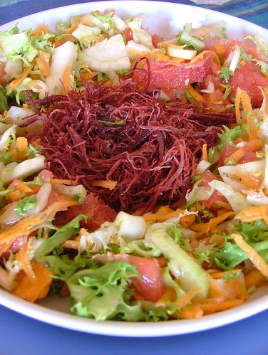 winter salad with panch puren dressing