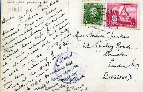Postcard to Stockwell, SW9 from Zlin  1935